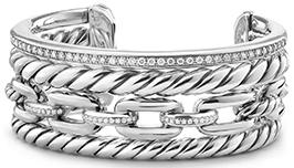 David Yurman Wellesley Link Pave Diamond & Sterling Silver Cuff