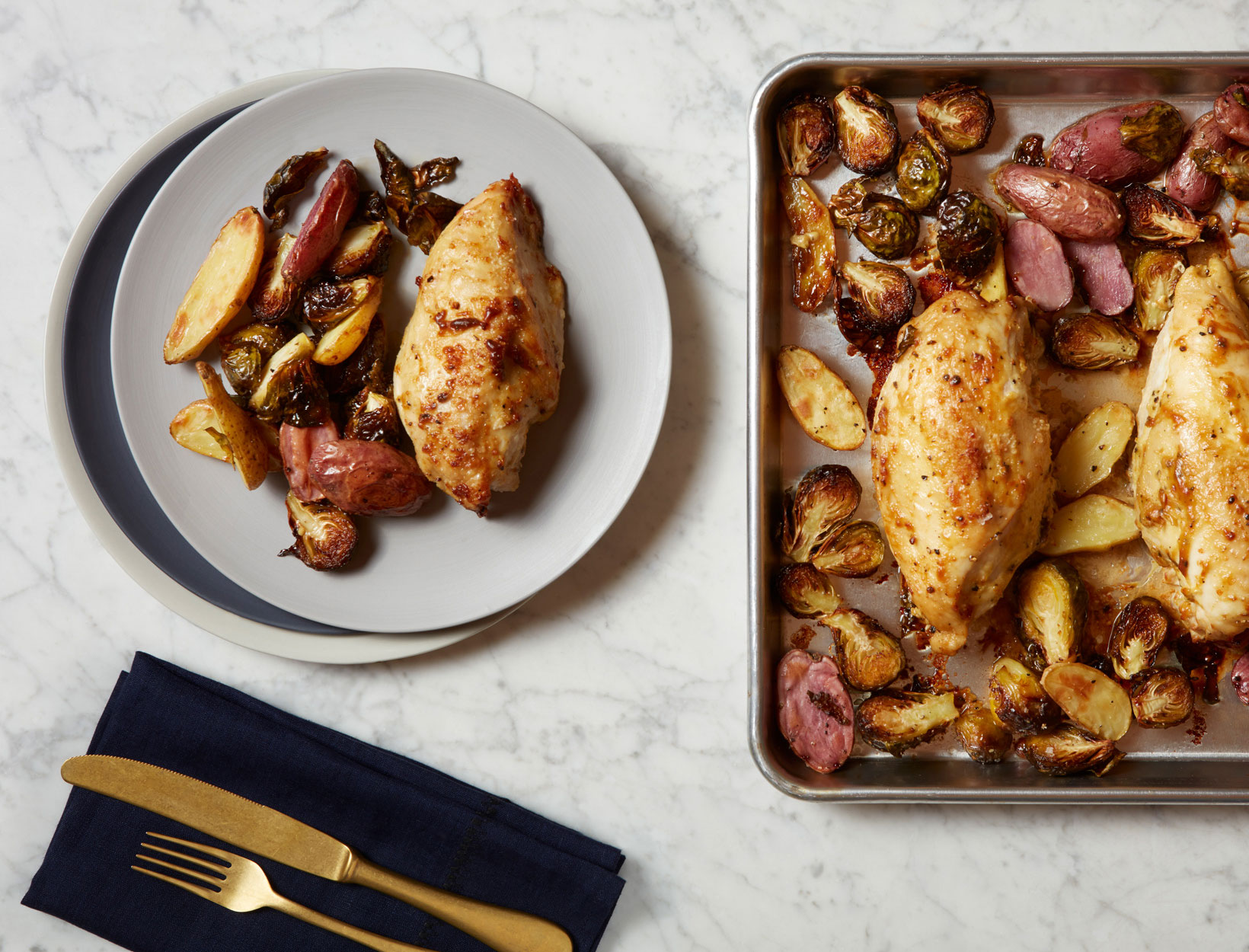 Mustard Chicken Breasts with Brussels Sprouts and Potatoes