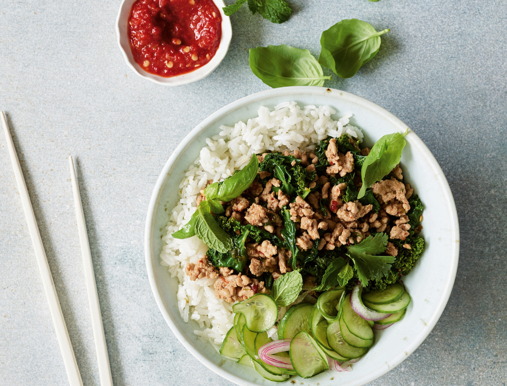 Chicken Larb Bowl with Coconut Rice