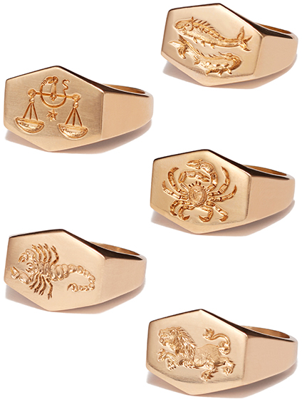 KIM DUNHAM Zodiac Sign Gold Rings