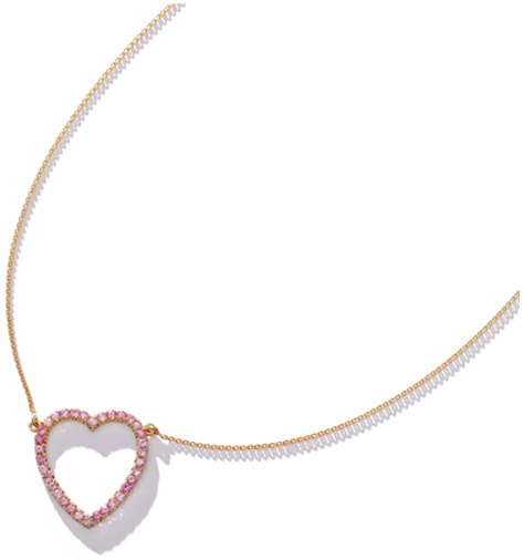 JENNIFER MEYER Pink Sapphire Large Open Heart Necklace