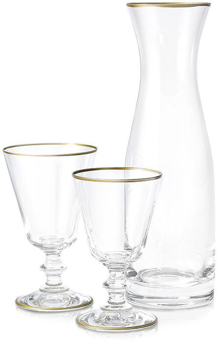 SUMMERILL & BISHOP Glass Water Carafe With Gold Rim and Glass Goblets With Gold Rim