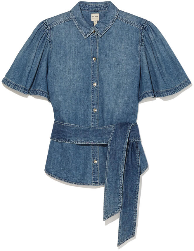 REBECCA TAYLOR LA VIE Short-Sleeve Denim Tie Top