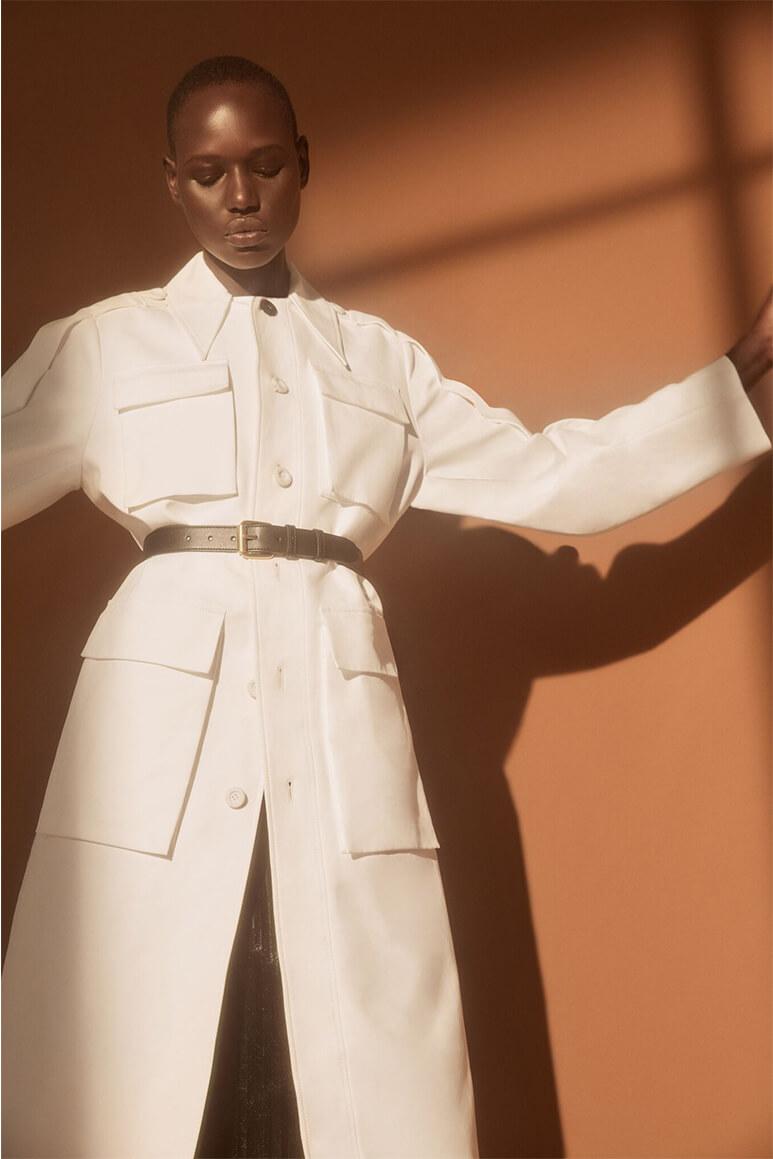 Model wearing belt