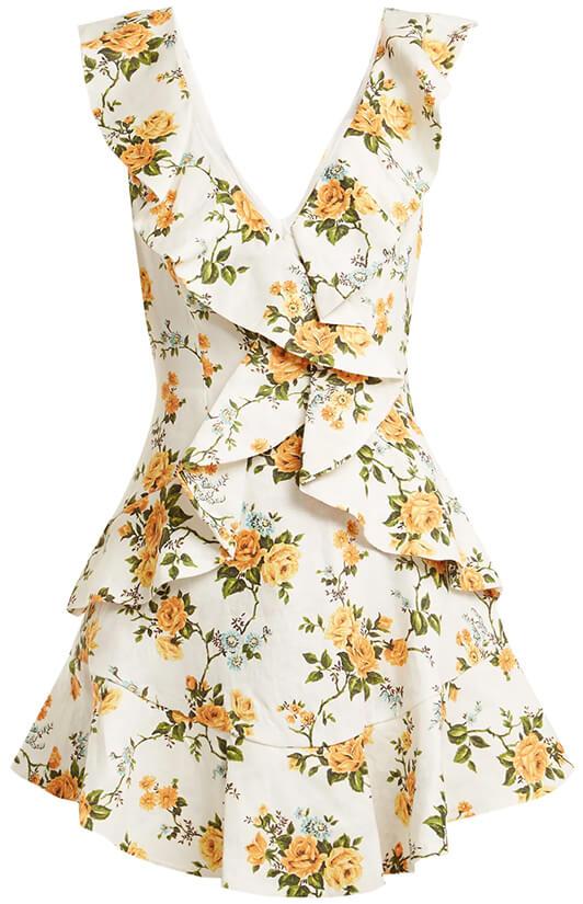 ZIMMERMANN Golden Flutter Floral-Print Dress