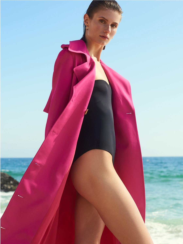 Model with KHAITE Trench Coat Mytheresa