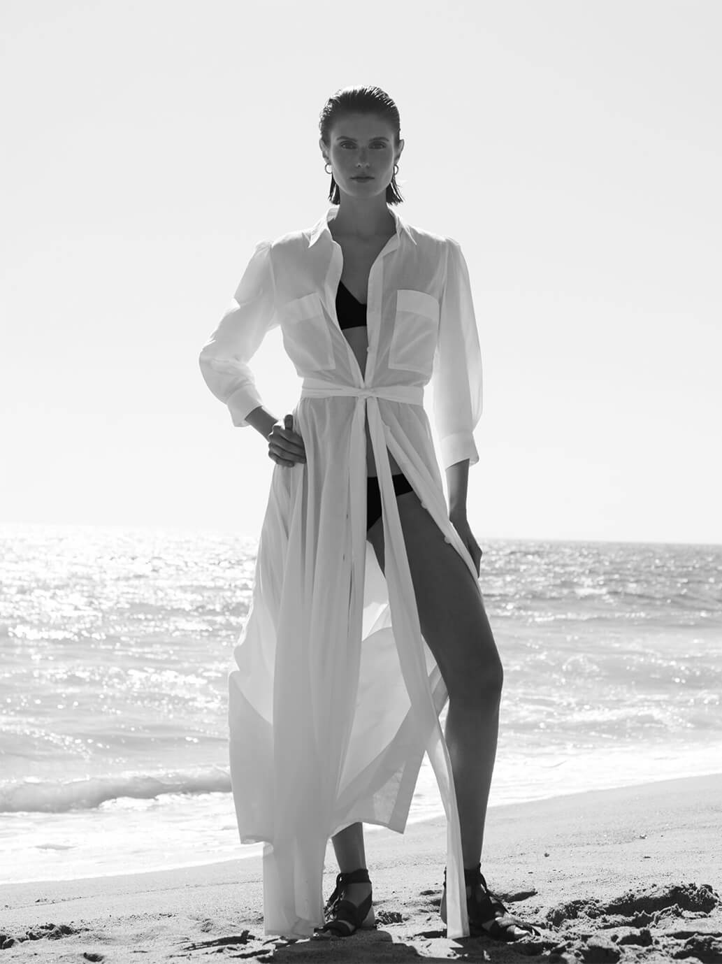 Model with shirtdress