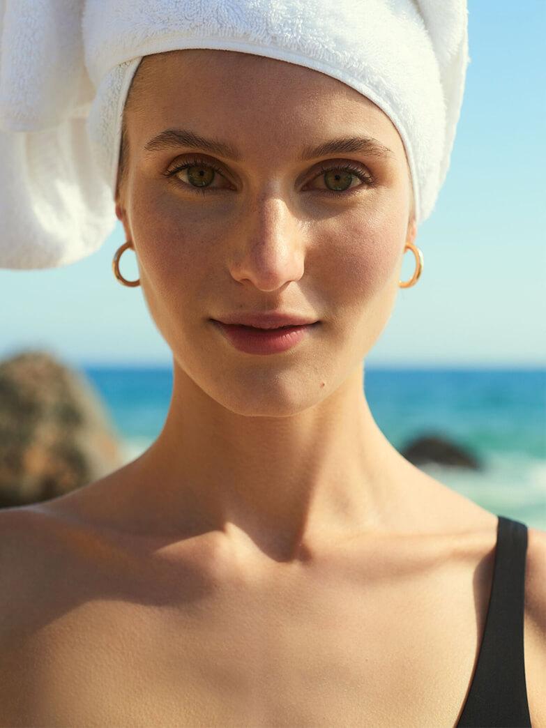 Model with G. LABEL Lori Sheer Shirtdress