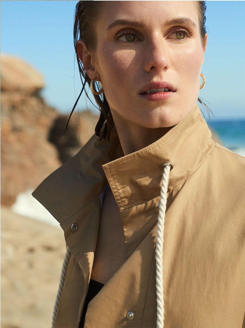 Model with G. Label Drew Trenchcoat
