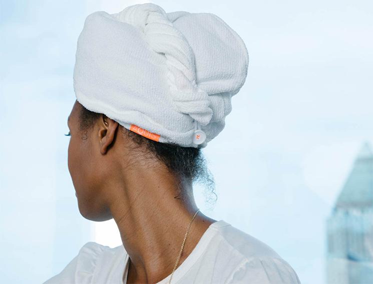 Megan O'Neill wearing Aquis Lisse Luxe Hair Turban goop