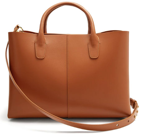 MANSUR GAVRIEL Tan-brown lined folded leather bag