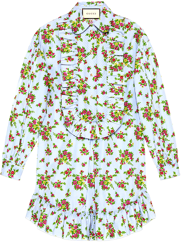 GUCCI Floral Bouquet Striped Cotton Shirt