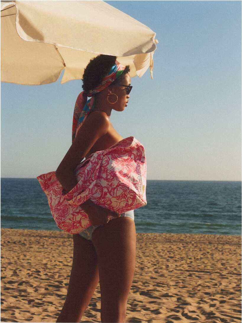 Model dancing on the beach