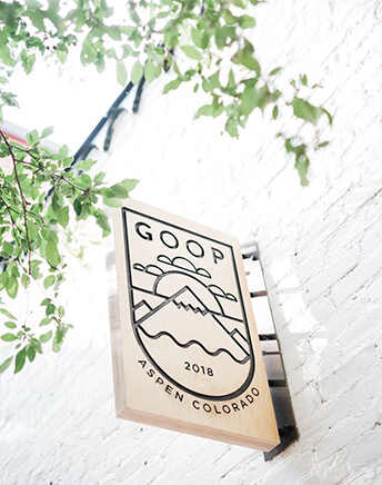 goop sign on the outside of building