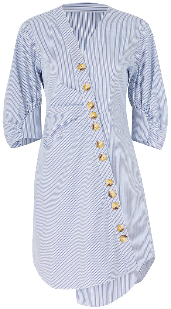 TIBI Blue Short Sleeve Dress