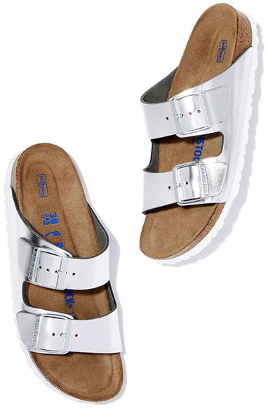 BIRKENSTOCK Silver Metallic Arizona Sandals