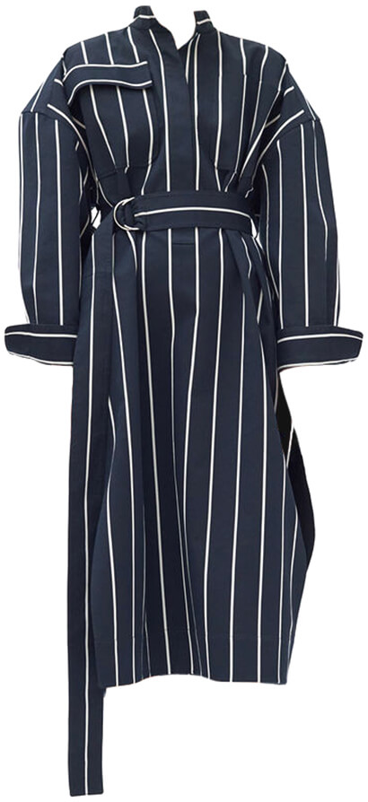 CÉLINE Blue/White Striped Shirt Dress