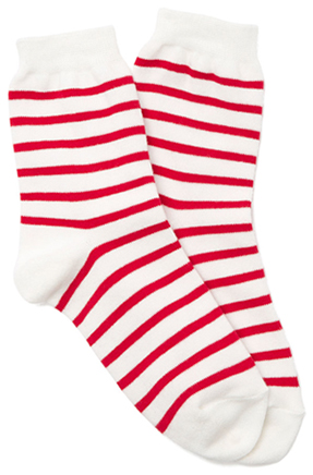 Entireworld ANKLE SOCK in white and red stripes