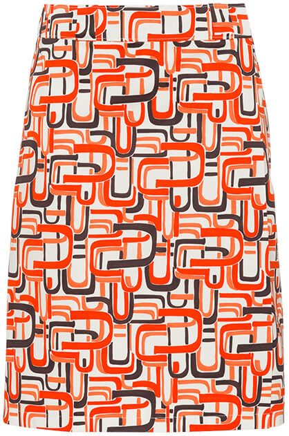 Prada red patterned skirt