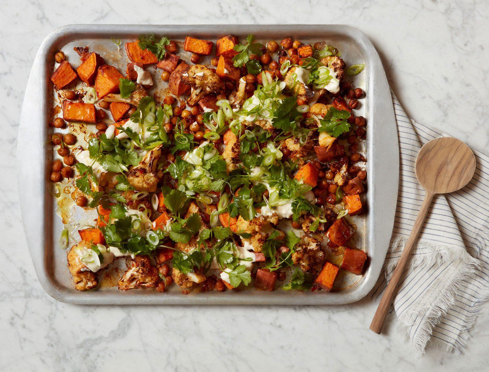 Harissa Roasted Vegetables with Chickpeas and Yogurt Tahini