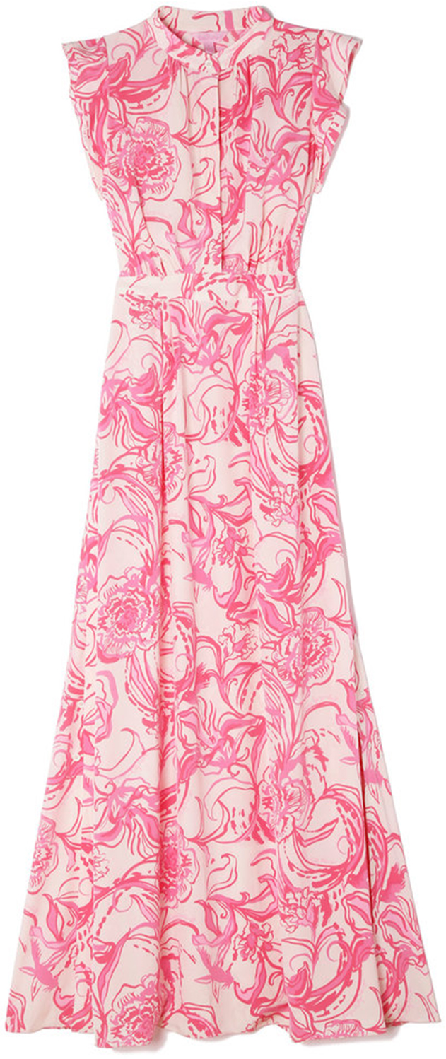 goop x Lilly Pulitzer PALM BEACH SILK MAXI DRESS