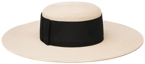 Black ribbon straw HAT