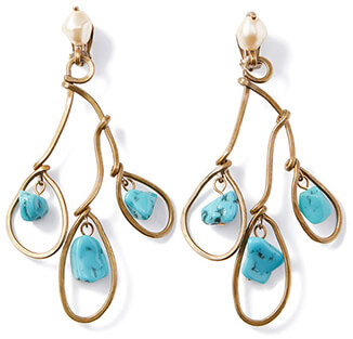 Gold and turqouise earrings