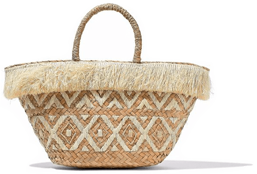 Fringed/ embroidered straw BAG