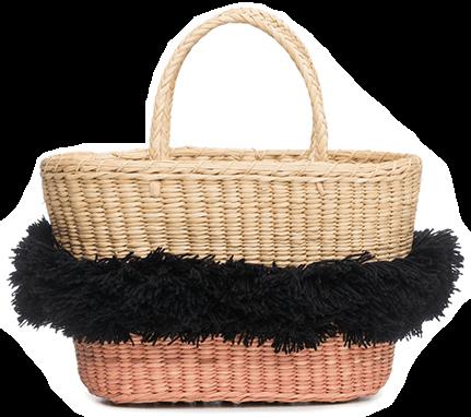 Pink/Black straw BAG
