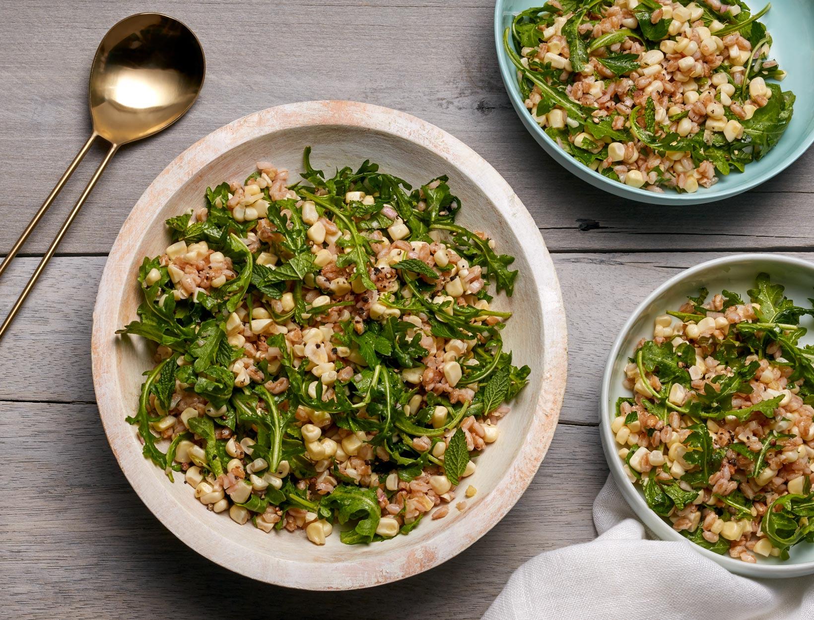 Farro Salad with Corn, Arugula, and Fresh Herbs