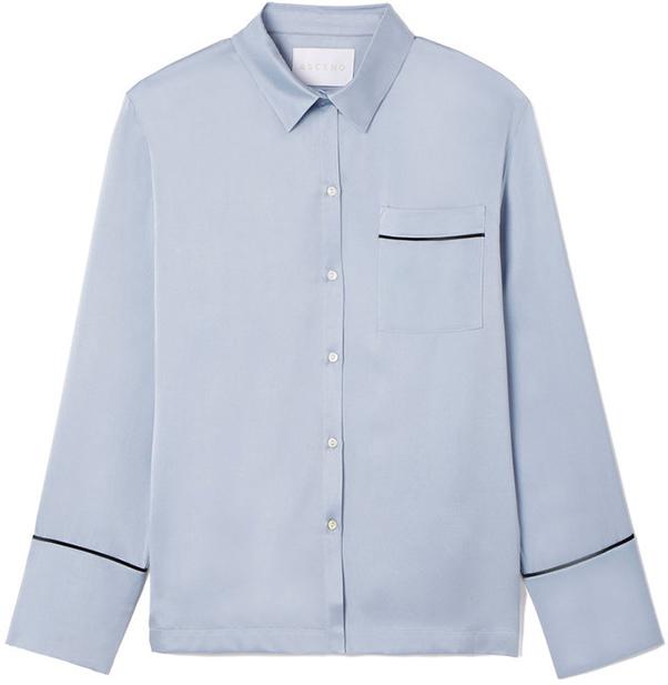 ASCENO blue and white stripe pajama top