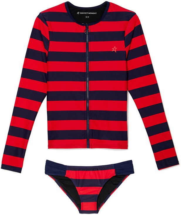 PERFECT MOMENT navy and red stripe rash guard