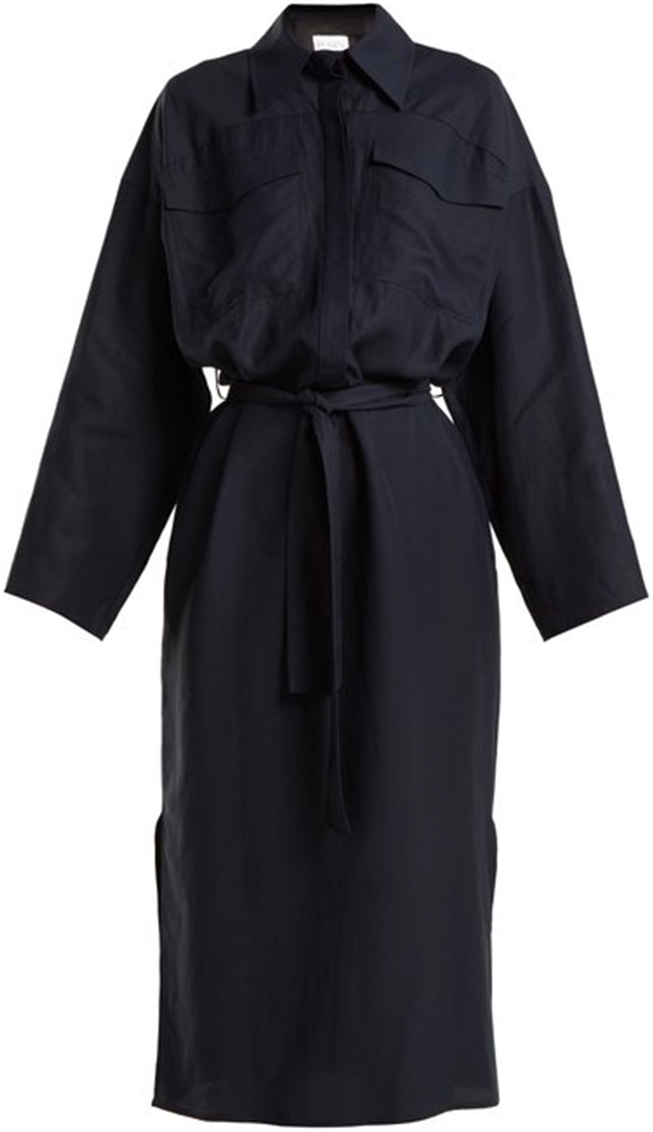 RAEY navy tie long sleeve dress
