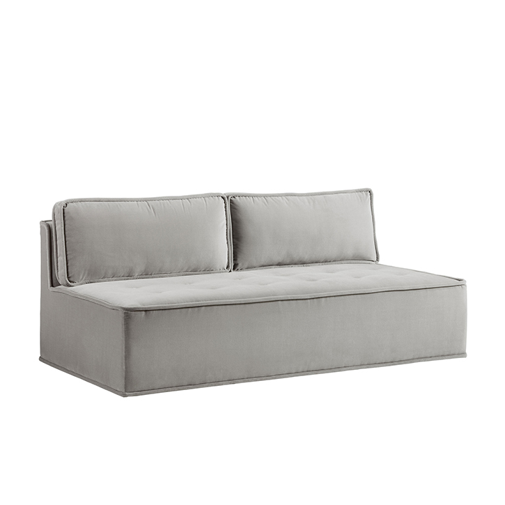 Quattro Sharkskin Light Grey Velvet Tufted Loveseat