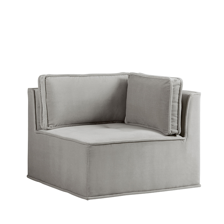 Quattro Sharkskin Light Grey Velvet Tufted Corner Chair