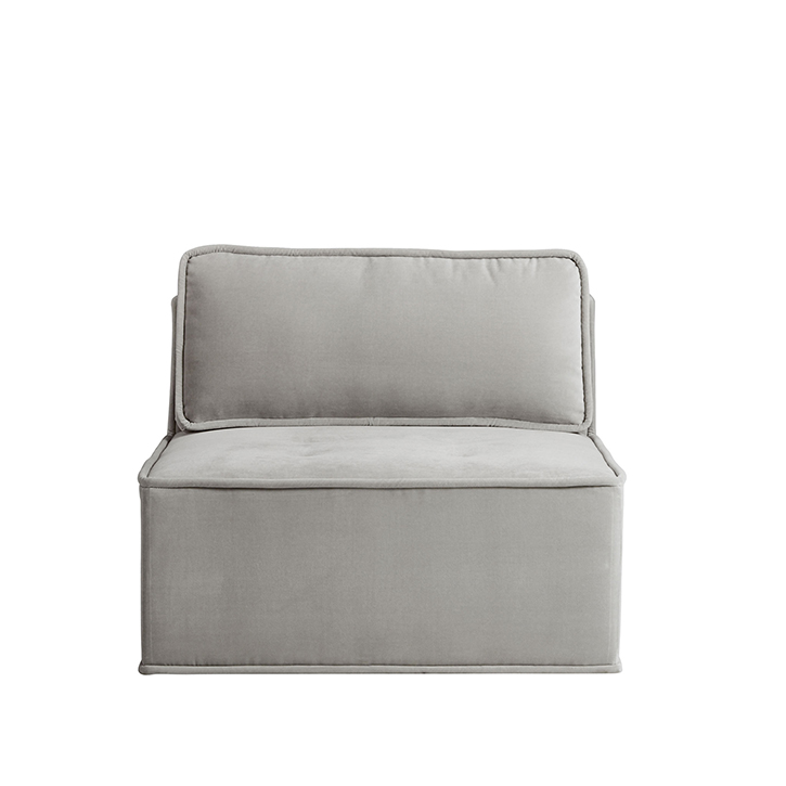 Quattro Sharkskin Light Grey Velvet Tufted Armless Chair