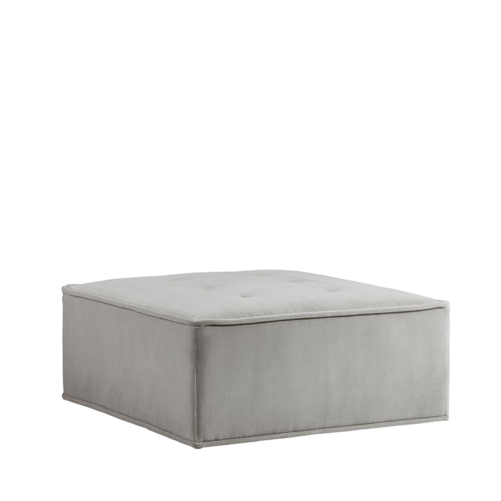 Quattro Sharkskin Light Grey Velvet Tufted Ottoman