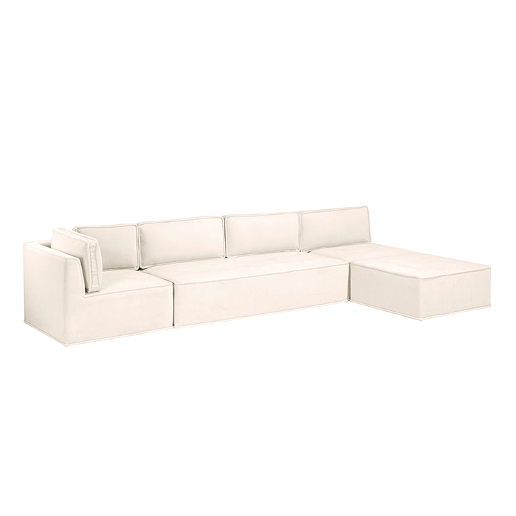 Quattro Snow Velvet Tufted 4-Piece Sectional Sofa