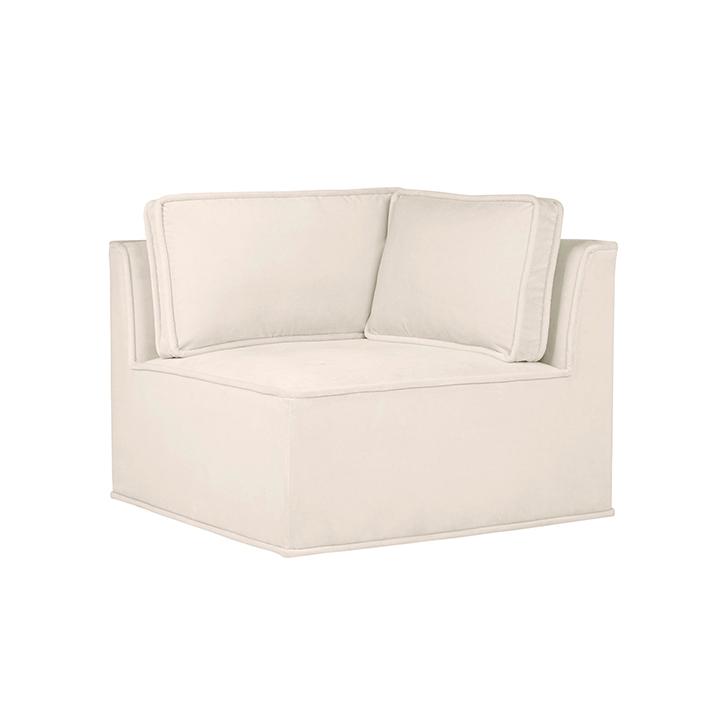 Quattro Snow Velvet Tufted Corner Chair