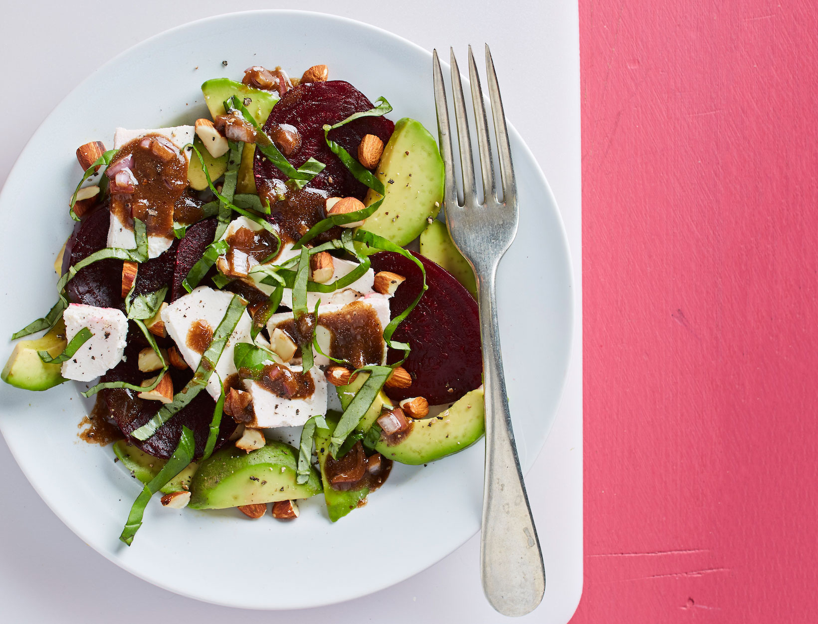 Roasted Beet-Cheese-Basil Caprese with Avocado and Toasted Almonds