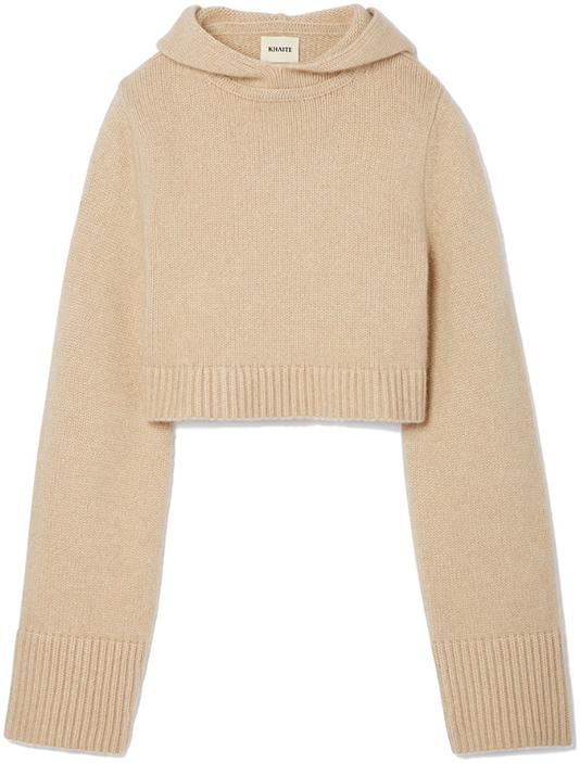 KHAITE beige crop sweater