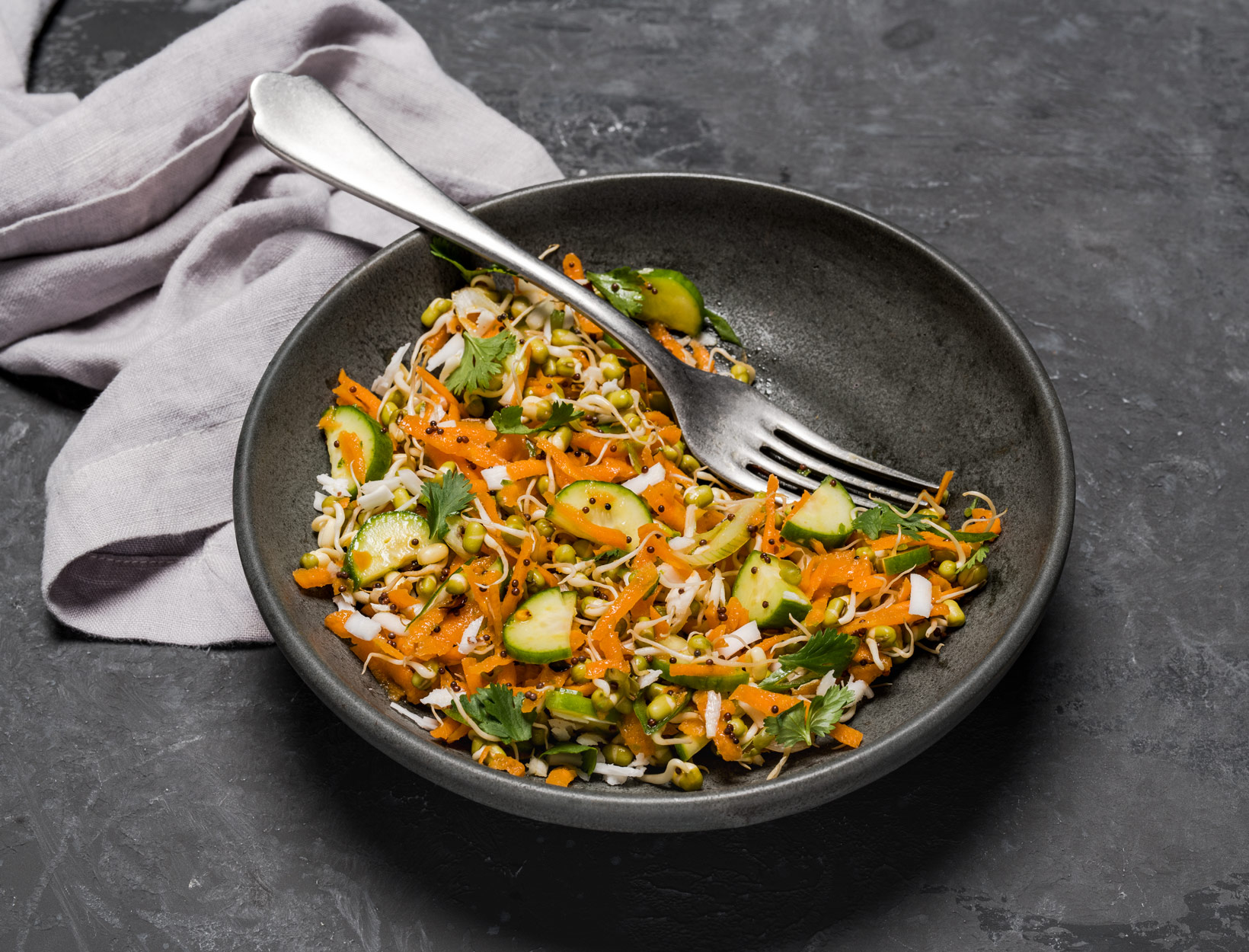 Carrot Salad with Sprouted Mung Beans