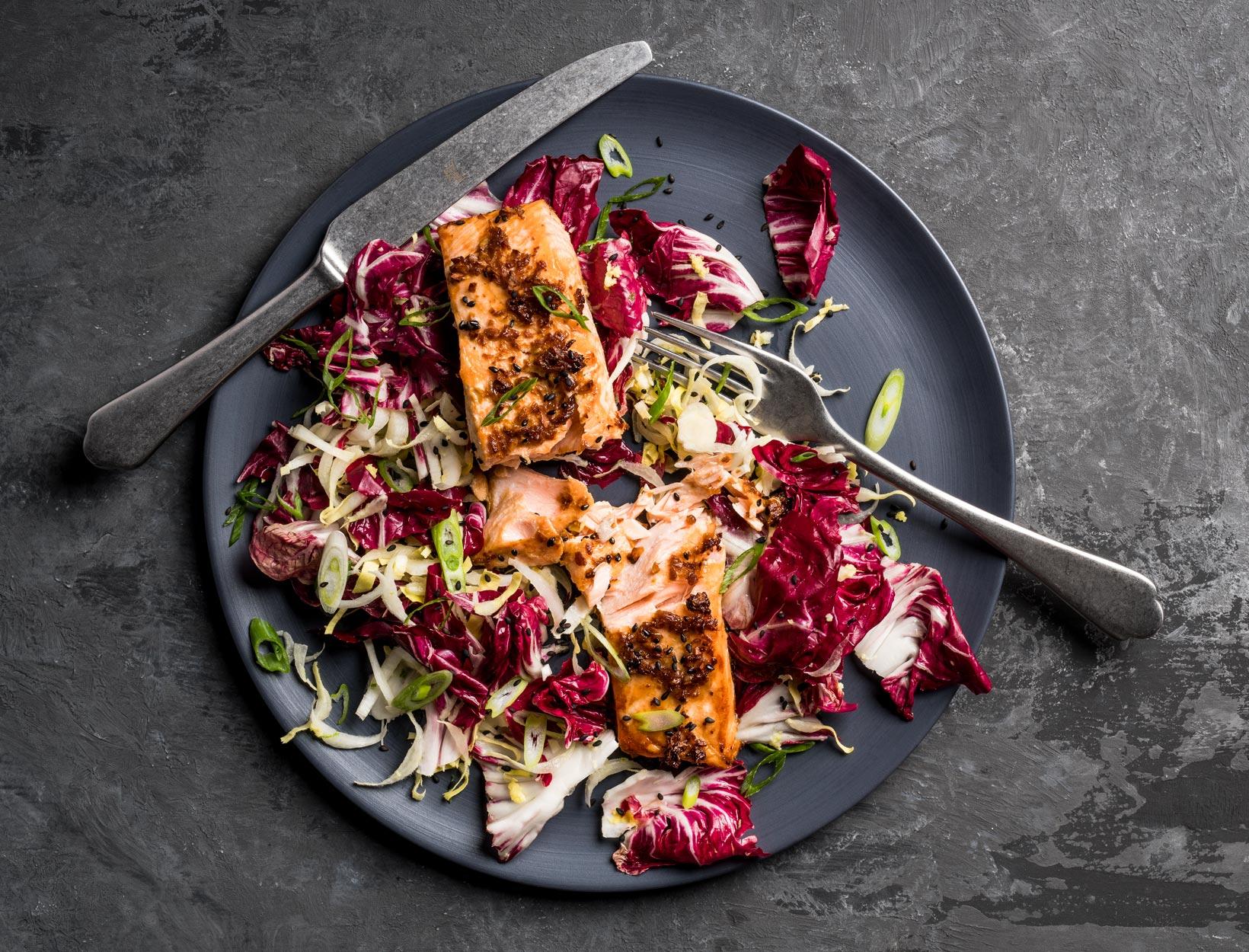 Miso Chicory Salmon Salad
