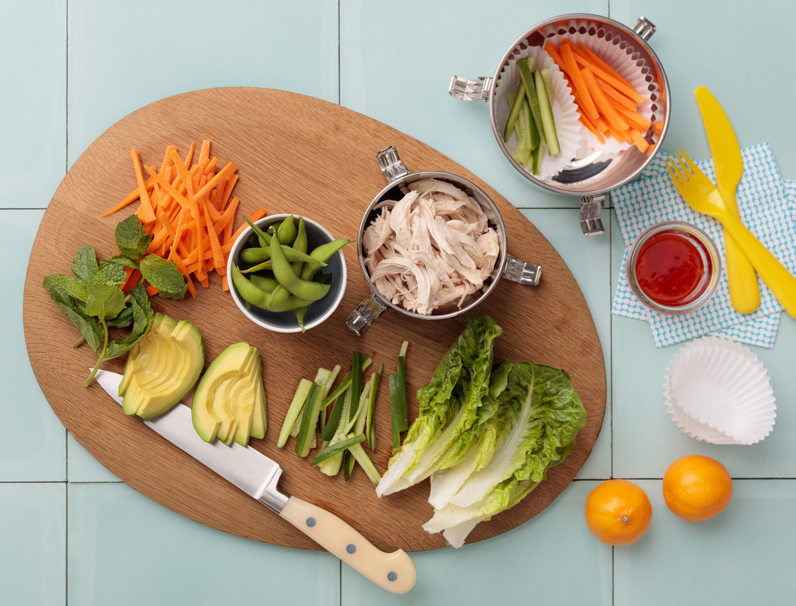 Deconstructed Chicken Salad Rolls with Edamame