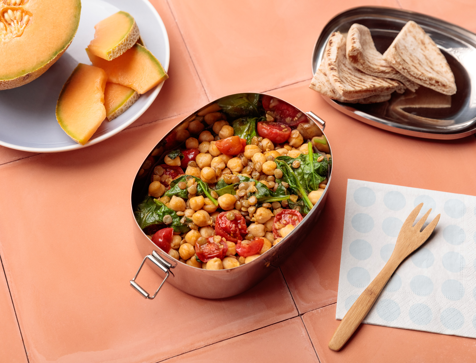 Lentil and Chickpea Salad with Greens and Pita