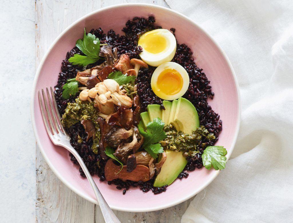 Black Rice and Roasted Mushroom Bowl