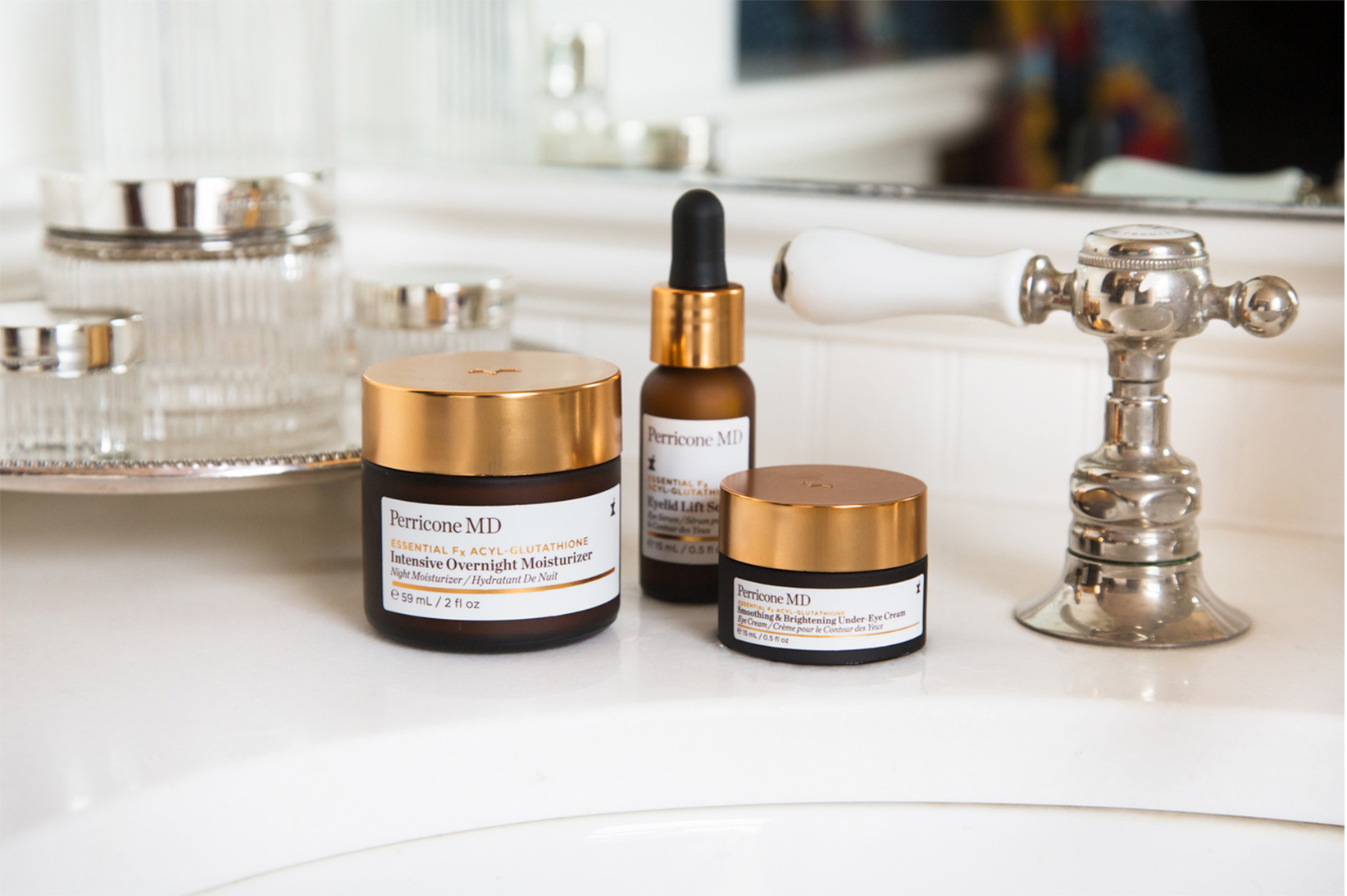 Perricone MD products on counter