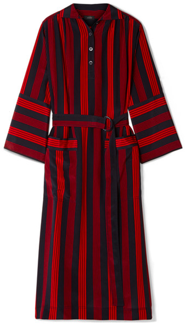 JOSEPH red and black striped long sleeve dress