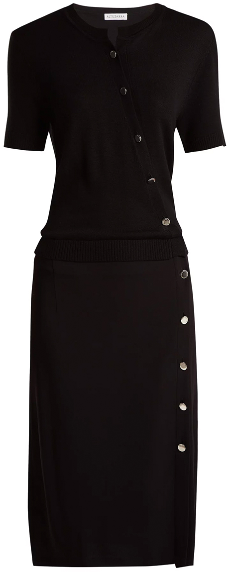 ALTUZARRA black dress with buttons
