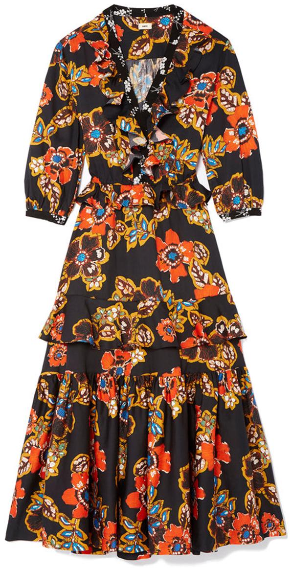 WARM black orange printed floral dress